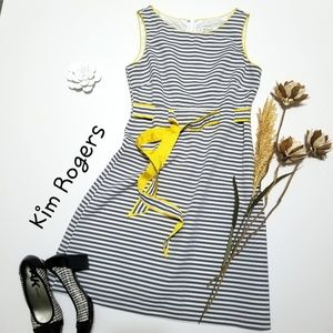 💝🌷Kim Rogers - Gray Striped Dress Yellow Accent